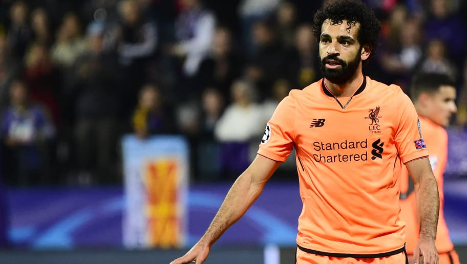 Liverpool's Egyptian forward Mohamed Salah reacts during the UEFA Champions League group E football match between NK Maribor and Liverpool at the Ljudski vrt Stadium, in Maribor, on October 17, 2017. / AFP PHOTO / Jure Makovec        (Photo credit should read JURE MAKOVEC/AFP/Getty Images)