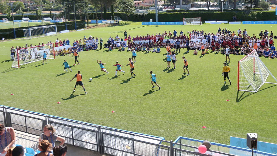 FLORENCE, ITALY - JUNE 18: Players in action during the Italian Football Federation during 9th Grassroots Festival at Coverciano on June 18, 2017 in Florence, Italy.  (Photo by Gabriele Maltinti/Getty Images)