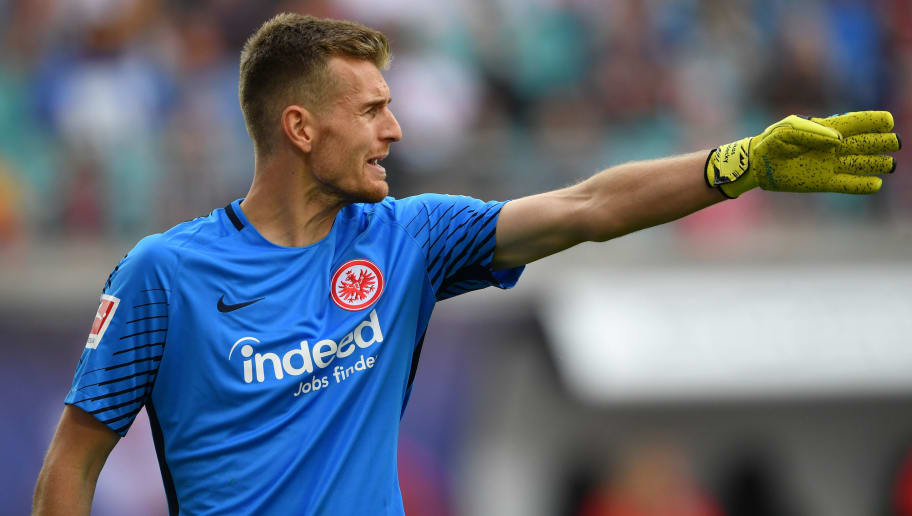 LEIPZIG, GERMANY - SEPTEMBER 23:  Lukas Hradecky of Frankfurt gestures during the Bundesliga match between RB Leipzig and Eintracht Frankfurt at Red Bull Arena on September 23, 2017 in Leipzig, Germany.  (Photo by Stuart Franklin/Bongarts/Getty Images)