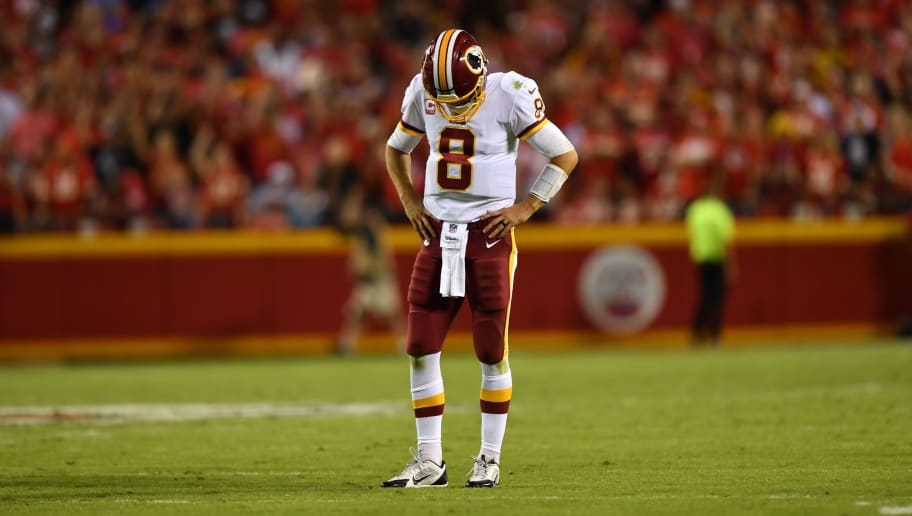 KANSAS CITY, MO - OCTOBER 2: Quarterback Kirk Cousins #8 of the Washington Redskins stands disappointed after a communication issue forced a time out during the fourth quarter of the game against the Kansas City Chiefs at Arrowhead Stadium on October 2, 2017 in Kansas City, Missouri. (Photo by Peter Aiken/Getty Images)