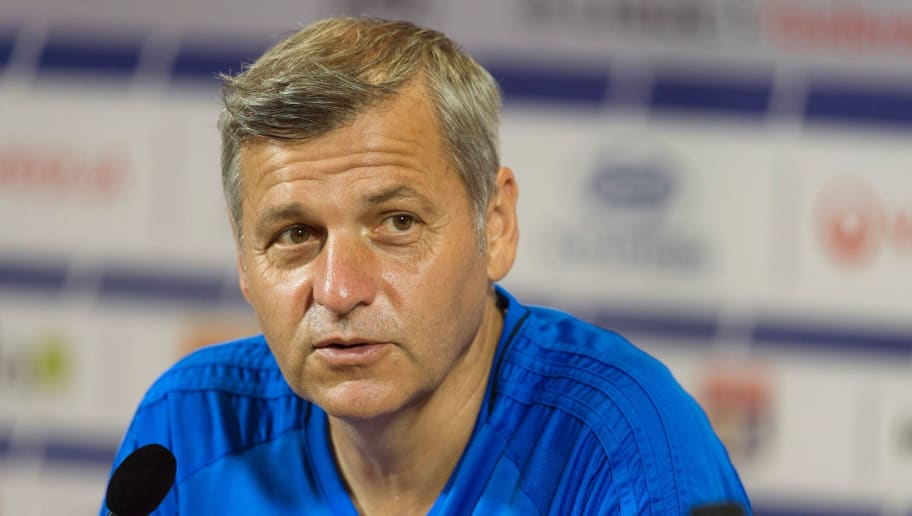 Lyon's French head coach Bruno Genesio attends a press conference to present the team's new captain, on August 3, 2017 at the Parc Olympique Lyonnais in Lyon, eastern France.  Lyon's French midfielder Nabil Fekir was named Lyon's team captain, Genesio said on August 3 ahead of Lyon's French Ligue 1 debut against Strasbourg on August 5. / AFP PHOTO / ROMAIN LAFABREGUE        (Photo credit should read ROMAIN LAFABREGUE/AFP/Getty Images)