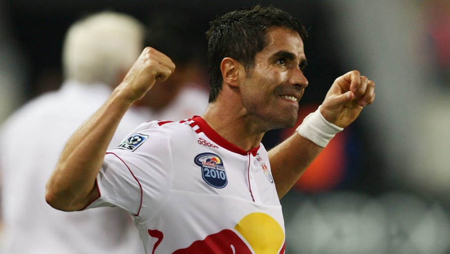 HARRISON, NJ - JUNE 02:  Juan Pablo Angel #9 of the New York Red Bulls celebrates after scoring the game winning goal in the 94th minute against the Houston Dynamo on June 2, 2010 at Red Bull Arena in Harrison, New Jersey. Red Bulls defeat the Dynamo 2-1.  (Photo by Mike Stobe/Getty Images for New York Red Bulls)