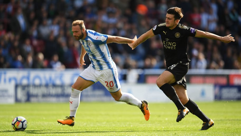HUDDERSFIELD, ENGLAND - SEPTEMBER 16:  Laurent Depoitre of Huddersfield Town scores his sides first goal during the Premier League match between Huddersfield Town and Leicester City at John Smith's Stadium on September 16, 2017 in Huddersfield, England.  (Photo by Laurence Griffiths/Getty Images)