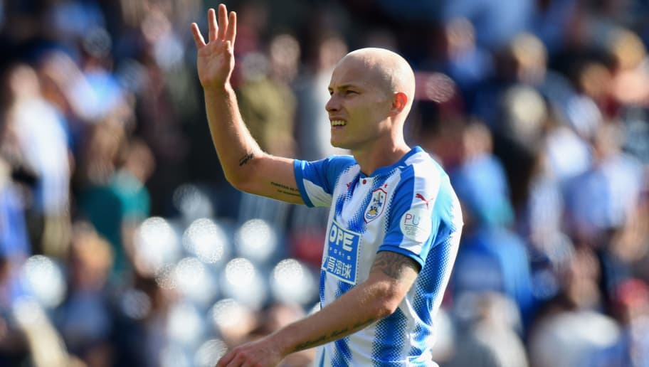 HUDDERSFIELD, ENGLAND - AUGUST 26: Aaron Mooy of Huddersfield Town shows appreciation to the fans after the Premier League match between Huddersfield Town and Southampton at John Smith's Stadium on August 26, 2017 in Huddersfield, England.  (Photo by Tony Marshall/Getty Images)