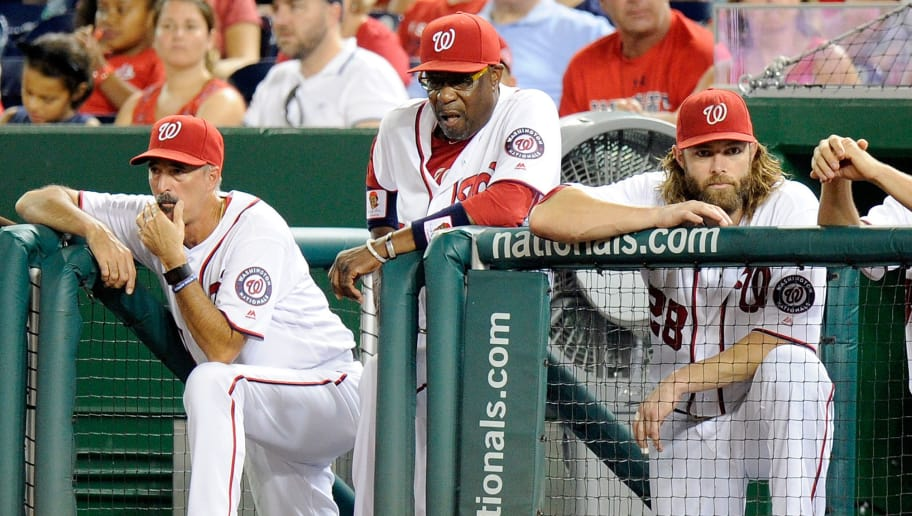 WASHINGTON, DC - SEPTEMBER 10: Pitching coach Mike Maddux #51, manager Dusty Baker #12 and Jayson Werth #28 of the Washington Nationals watch the game in the eighth inning against the Philadelphia Phillies at Nationals Park on September 10, 2016 in Washington, DC.  (Photo by Greg Fiume/Getty Images)