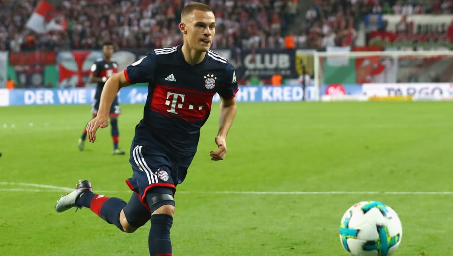 LEIPZIG, GERMANY - OCTOBER 25:  Joshua Kimmich of Bayern Muenchen runs with the ball during the DFB Cup round 2 match between RB Leipzig and Bayern Muenchen at Red Bull Arena on October 25, 2017 in Leipzig, Germany.  (Photo by Alexander Hassenstein/Bongarts/Getty Images)
