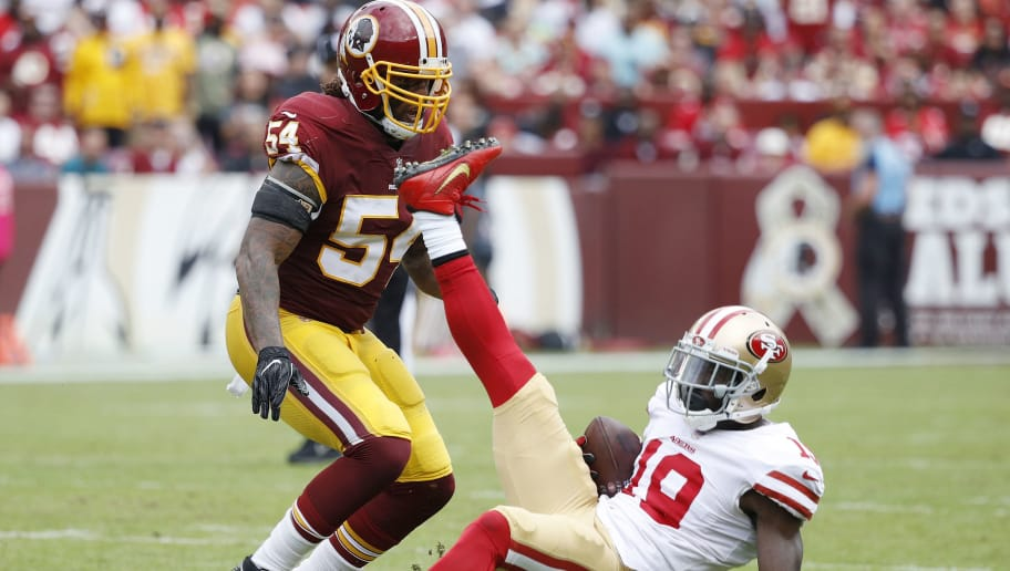 LANDOVER, MD - OCTOBER 15: Aldrick Robinson #19 of the San Francisco 49ers is upended after a catch against Mason Foster #54 of the Washington Redskins in the second quarter of a game at FedEx Field on October 15, 2017 in Landover, Maryland. The Redskins won 26-24. (Photo by Joe Robbins/Getty Images)