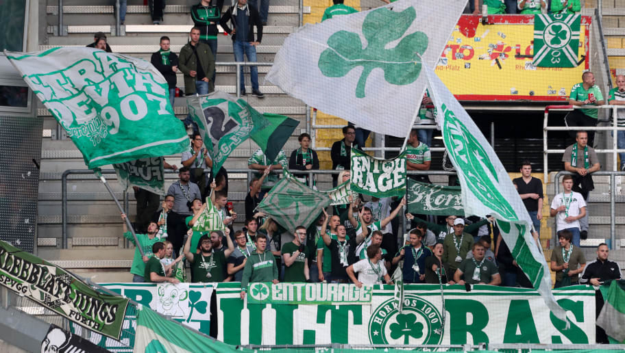 KAISERSLAUTERN, GERMANY - SEPTEMBER 29: fans of Greuther Fuerth during the Second Bundesliga match between 1. FC Kaiserslautern and SpVgg Greuther Fuerth at Fritz-Walter-Stadion on September 29, 2017 in Kaiserslautern, Germany. (Photo by Andreas Schlichter/Bongarts/Getty Images)