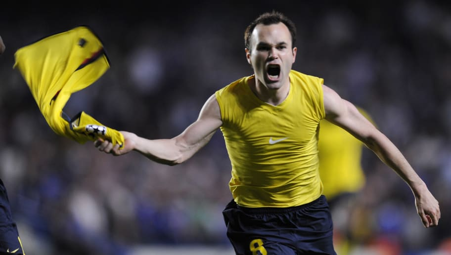 Barcelona´s midfielder Andrés Iniesta celebrates a goal against Chelsea during their Champions League semi-final, second-leg match against at the Stanford Bridge in London, May 6, 2009. AFP PHOTO/LLUIS GENE. (Photo credit should read LLUIS GENE/AFP/Getty Images)