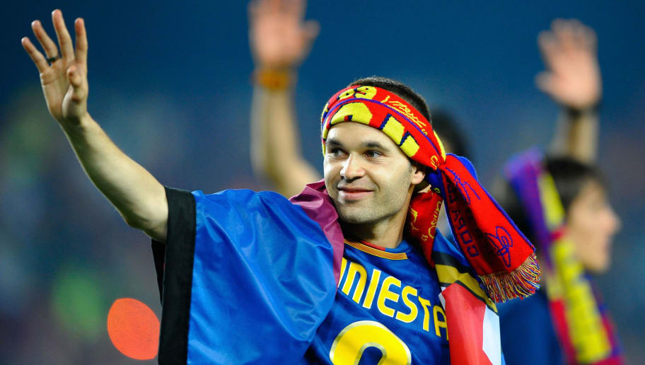 BARCELONA, SPAIN - MAY 28:  Andres Iniesta celebrates at the Nou Camp stadium the day after Barcelona won the UEFA Champions League Cup final on May 28, 2009 in Barcelona, Spain. Barcelona beat Manchester United in the final in Rome.  (Photo by Manuel Queimadelos Alonso/Getty Images)