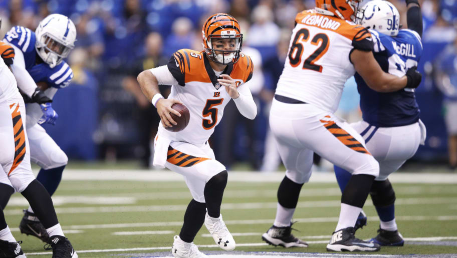 INDIANAPOLIS, IN - AUGUST 31: AJ McCarron #5 of the Cincinnati Bengals runs with the ball in the first half of a preseason game against the Indianapolis Colts at Lucas Oil Stadium on August 31, 2017 in Indianapolis, Indiana. (Photo by Joe Robbins/Getty Images)