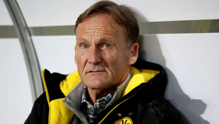 MAGDEBURG, GERMANY - OCTOBER 24: Hans-Joachim Watzke, CEO of Dortmund, looks on prior to the DFB Cup match between 1. FC Magdeburg and Borussia Dortmund at MDCC-Arena on October 24, 2017 in Magdeburg, Germany. (Photo by Ronny Hartmann/Bongarts/Getty Images)