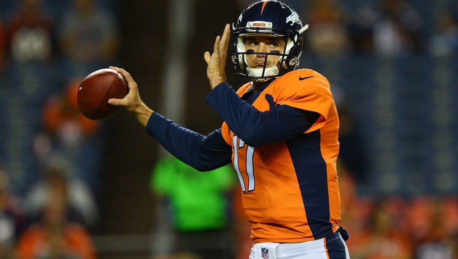 DENVER, CO - SEPTEMBER 11:  Quarterback Brock Osweiler #17 of the Denver Broncos warms up before the game against the Los Angeles Chargers at Sports Authority Field at Mile High on September 11, 2017 in Denver, Colorado. (Photo by Dustin Bradford/Getty Images)