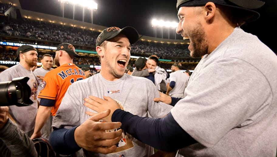 LOS ANGELES, CA - NOVEMBER 01:  Alex Bregman #2 of the Houston Astros celebrates with teammates after defeating the Los Angeles Dodgers 5-1 in game seven to win the 2017 World Series at Dodger Stadium on November 1, 2017 in Los Angeles, California.  (Photo by Harry How/Getty Images)