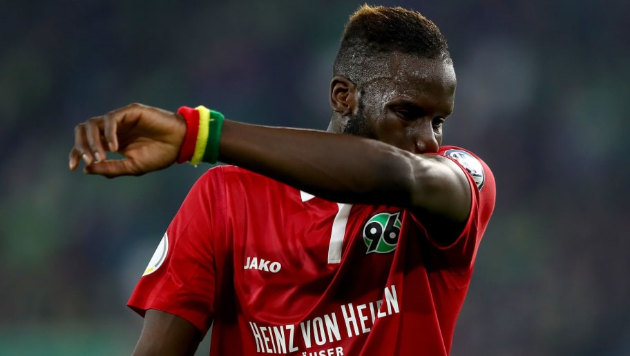WOLFSBURG, GERMANY - OCTOBER 25: Salif Sane of Hannover reacts during the DFB Cup match between VfL Wolfsburg and Hannover 96 at Volkswagen Arena on October 25, 2017 in Wolfsburg, Germany.  (Photo by Martin Rose/Bongarts/Getty Images)