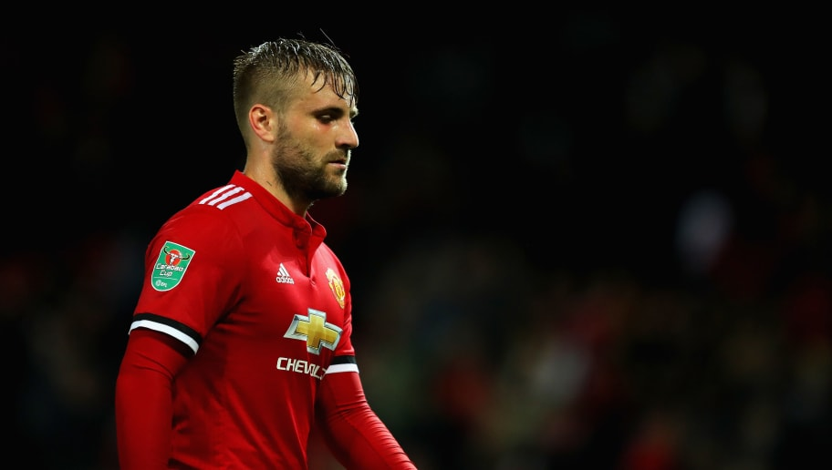 MANCHESTER, ENGLAND - SEPTEMBER 20:  Luke Shaw of Manchester United looks on during the Carabao Cup Third Round match between Manchester United and Burton Albion at Old Trafford on September 20, 2017 in Manchester, England.  (Photo by Richard Heathcote/Getty Images)