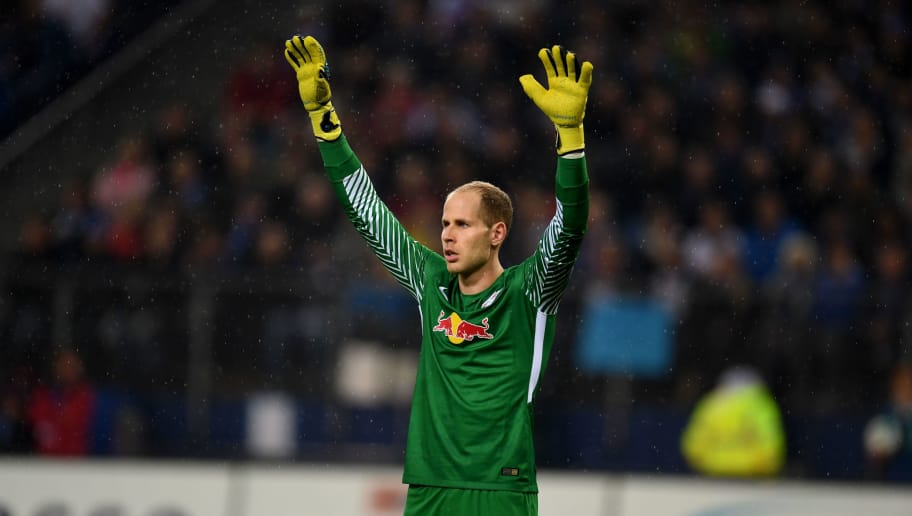 Leipzig´s Hungarian goalkeeper Peter Gulacsi reacts during German first division Bundesliga football match between Hamburger SV and RB Leipzig in Hamburg on September 8, 2017. / AFP PHOTO / PATRIK STOLLARZ / RESTRICTIONS: DURING MATCH TIME: DFL RULES TO LIMIT THE ONLINE USAGE TO 15 PICTURES PER MATCH AND FORBID IMAGE SEQUENCES TO SIMULATE VIDEO. == RESTRICTED TO EDITORIAL USE == FOR FURTHER QUERIES PLEASE CONTACT DFL DIRECTLY AT + 49 69 650050  / RESTRICTIONS: DURING MATCH TIME: DFL RULES TO LIMIT THE ONLINE USAGE TO 15 PICTURES PER MATCH AND FORBID IMAGE SEQUENCES TO SIMULATE VIDEO. == RESTRICTED TO EDITORIAL USE == FOR FURTHER QUERIES PLEASE CONTACT DFL DIRECTLY AT + 49 69 650050        (Photo credit should read PATRIK STOLLARZ/AFP/Getty Images)