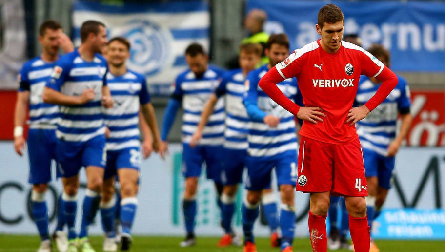 DUISBURG, GERMANY - NOVEMBER 29:  Damian Rossbach of Sandhausen looks dejected after the second goal of Duisburg during the 2. Bundesliga match between MSV Duisburg and SV Sandhausen at Schauinsland-Reisen-Arena on November 29, 2015 in Duisburg, Germany.  (Photo by Christof Koepsel/Bongarts/Getty Images)