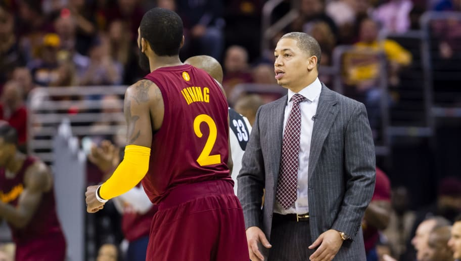 CLEVELAND, OH - DECEMBER 25: Kyrie Irving #2 of the Cleveland Cavaliers talks to head coach Tyronn Lue of the Cleveland Cavaliers during the first half against the Golden State Warriorsat Quicken Loans Arena on December 25, 2016 in Cleveland, Ohio. NOTE TO USER: User expressly acknowledges and agrees that, by downloading and/or using this photograph, user is consenting to the terms and conditions of the Getty Images License Agreement. Mandatory copyright notice. (Photo by Jason Miller/Getty Images)