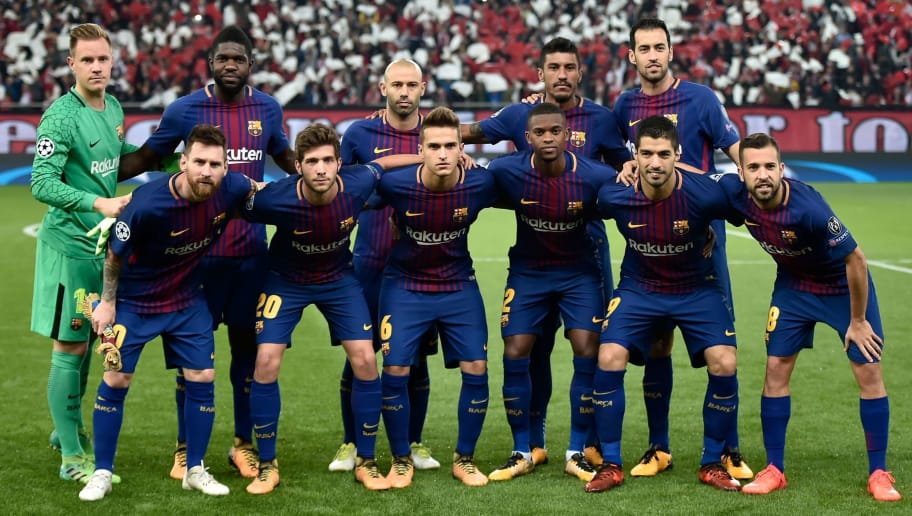 Barcelona team (first row LtoR) Barcelona's Argentinian forward Lionel Messi, Barcelona's Spanish midfielder Sergi Roberto, Barcelona's Spanish midfielder Denis Suarez, Barcelona's Portuguese defender Nelson Semedo, Barcelona's Uruguayan forward Luis Suarez, Barcelona's Spanish defender Jordi Alba (second row LtoR) Barcelona's German goalkeeper Marc-Andre Ter Stegen, Barcelona's French defender Samuel Umtiti, Barcelona's Argentinian defender Javier Mascherano, Barcelona's Brazilian midfielder Paulinho and Barcelona's Spanish midfielder Sergio Busquets, pose prior to the UEFA Champions League group D football match between FC Barcelona and Olympiakos FC at the Karaiskakis stadium in Piraeus near Athens on October 31, 2017.  / AFP PHOTO / Louisa GOULIAMAKI        (Photo credit should read LOUISA GOULIAMAKI/AFP/Getty Images)