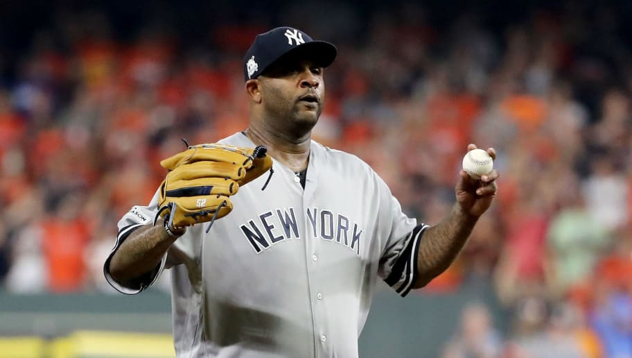 HOUSTON, TX - OCTOBER 21:  CC Sabathia #52 of the New York Yankees reacts against the Houston Astros in Game Seven of the American League Championship Series at Minute Maid Park on October 21, 2017 in Houston, Texas.  (Photo by Elsa/Getty Images)