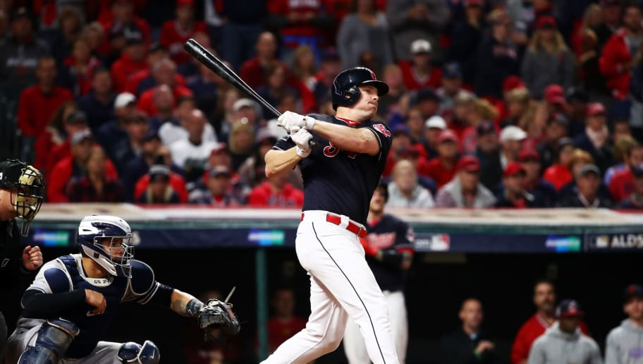 CLEVELAND, OH - OCTOBER 11:  Jay Bruce #32 of the Cleveland Indians hits a single in the fifth inning against the New York Yankees in Game Five of the American League Divisional Series at Progressive Field on October 11, 2017 in Cleveland, Ohio.  (Photo by Gregory Shamus/Getty Images)