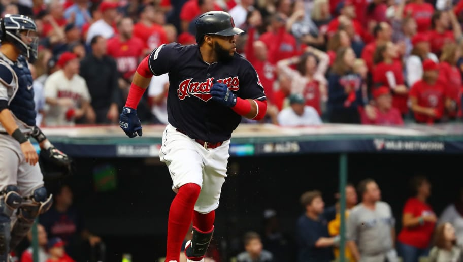 CLEVELAND, OH - OCTOBER 06:  Carlos Santana #41 of the Cleveland Indians runs after hitting a two RBI single second inning in the first inning against the New York Yankees during game two of the American League Division Series at Progressive Field on October 6, 2017 in Cleveland, Ohio.  (Photo by Gregory Shamus/Getty Images)
