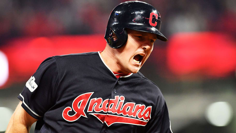 CLEVELAND, OH - OCTOBER 06:  Jay Bruce #32 of the Cleveland Indians runs the bases after hitting a solo home run in the eighth inning against the New York Yankees during game two of the American League Division Series at Progressive Field on October 6, 2017 in Cleveland, Ohio.  (Photo by Jason Miller/Getty Images)