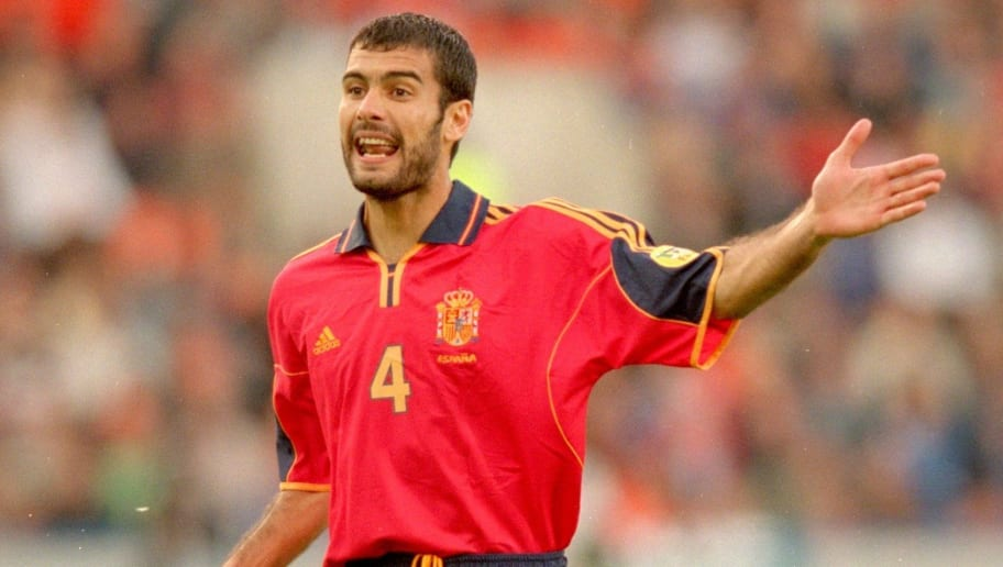 25 Jun 2000:  Josep Guardiola of Spain in action during the European Championships 2000 quarter final match against France played at the Jan Breydel Stadium, in Brugge, Belgium. France won the match 2-1. \ Mandatory Credit: Shaun Botterill /Allsport