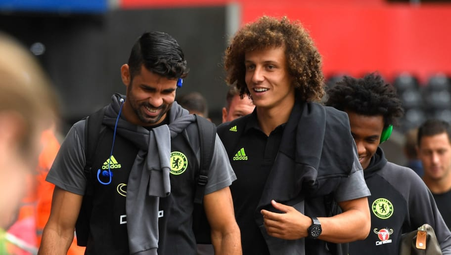 SWANSEA, WALES - SEPTEMBER 11:  David Luiz and Diego Costa of Chelsea arrive prior to the Premier League match between Swansea City and Chelsea at Liberty Stadium on September 11, 2016 in Swansea, Wales.  (Photo by Stu Forster/Getty Images)