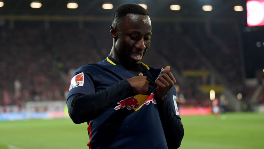 MAINZ, GERMANY - APRIL 05:  Naby Deco Keita of Leipzig celebrates after he scores his team's 3rd goal during the Bundesliga match between 1. FSV Mainz 05 and RB Leipzig at Opel Arena on April 5, 2017 in Mainz, Germany.  (Photo by Matthias Hangst/Bongarts/Getty Images)
