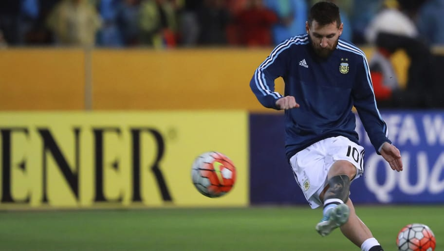 QUITO, ECUADOR - OCTOBER 10:  Lionel Messi of Argentina kicks the ball prior a match between Ecuador and Argentina as part of FIFA 2018 World Cup Qualifiers at Olimpico Atahualpa Stadium on October 10, 2017 in Quito, Ecuador. (Photo by Hector Vivas/Getty Images)