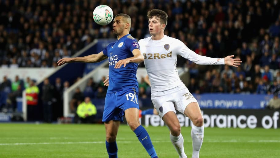 LEICESTER, ENGLAND - OCTOBER 24:  Islam Slimani of Leicester City and Conor Shaughnessy of Leeds United in action during the Carabao Cup Fourth Round match between Leicester City and Leeds United at The King Power Stadium on October 24, 2017 in Leicester, England.  (Photo by Matthew Lewis/Getty Images)
