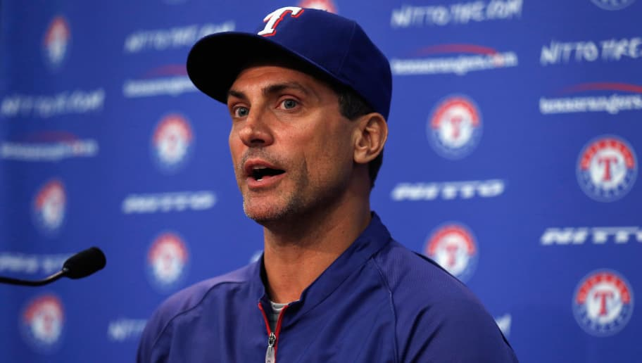 ARLINGTON, TX - SEPTEMBER 05:  Tim Bogar of the Texas Rangers talk to the media after being appointed interim manager for the remainder of the 2014 season at Globe Life Park in Arlington on September 5, 2014 in Arlington, Texas. Manager Ron Washington informed the club that he has chosen to resign in order to turn his full attention to addressing an off-the-field personal matter.  (Photo by Tom Pennington/Getty Images)