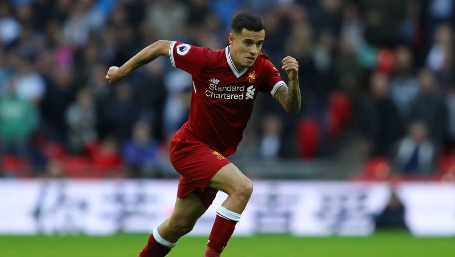 LONDON, ENGLAND - OCTOBER 22: Philippe Coutinho of Liverpool in action during the Premier League match between Tottenham Hotspur and Liverpool at Wembley Stadium on October 22, 2017 in London, England. (Photo by Richard Heathcote/Getty Images)