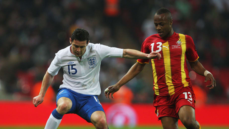 LONDON, ENGLAND - MARCH 29:  Matt Jarvis of England (L) controls the ball under pressure from Morgan Ayew-Dede of Ghana during the international friendly match between England and Ghana at Wembley Stadium on March 29, 2011 in London, England.  (Photo by Clive Rose/Getty Images)