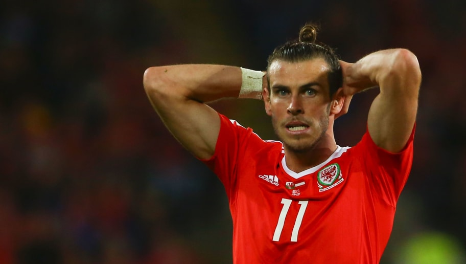Wales' striker Gareth Bale reacts after having his shot saved by Austria's goalkeeper Heinz Lindner during the FIFA World Cup 2018 qualification international football match between Wales and Austria in Cardiff, south Wales, on September 2, 2017. / AFP PHOTO / Geoff CADDICK        (Photo credit should read GEOFF CADDICK/AFP/Getty Images)