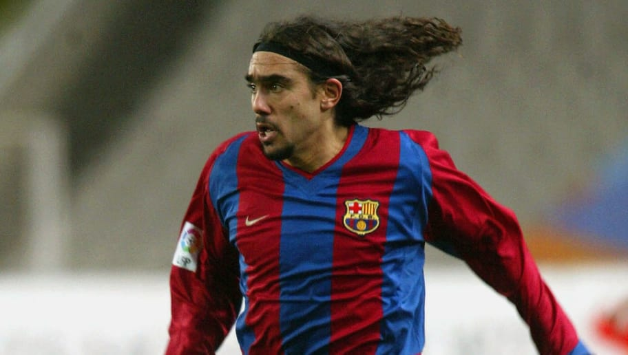BARCELONA - FEBRUARY 15:  Juan Pablo Sorin of Barcelona runs with the ball during the Spanish Primera Liga match between Espanyol and FC Barcelona held on February 15, 2003 at the Olimpico de Montjuic Stadium, in Barcelona, Spain. Barcelona won the match 2-0. (Photo by Firo Foto/Getty Images)