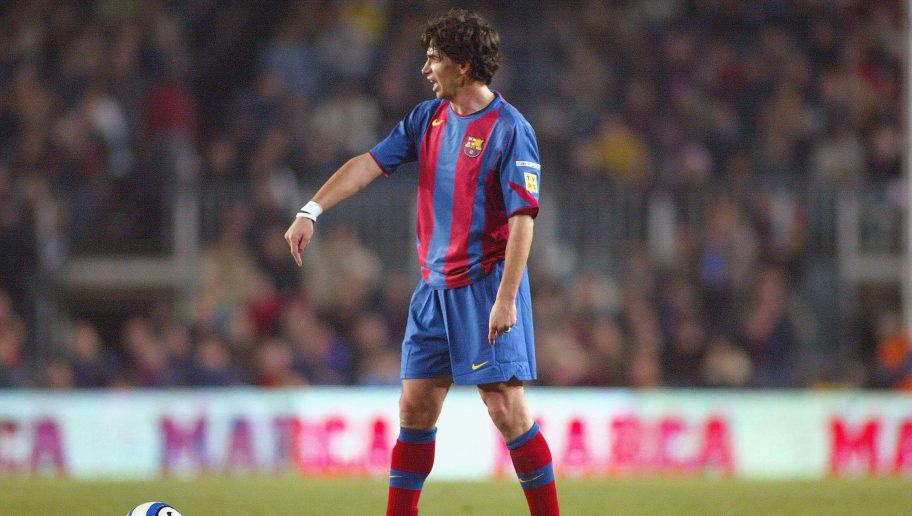 BARCELONA - FEBRUARY 6: FC Barcelona's new player Demetrio Albertini waits to take a free kickduring the La Liga match between FC Barcelona and Atletico de Madrid at the Camp Nou stadium on February 6, 2005 in Barcelona, Spain. (Photo by Lluis Buera/Getty Images)