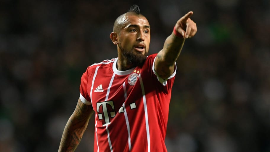 GLASGOW, SCOTLAND - OCTOBER 31: Munich player Arturo Vidal reacts  during the UEFA Champions League group B match between Celtic FC and Bayern Muenchen at Celtic Park on October 31, 2017 in Glasgow, United Kingdom.  (Photo by Stu Forster/Getty Images)