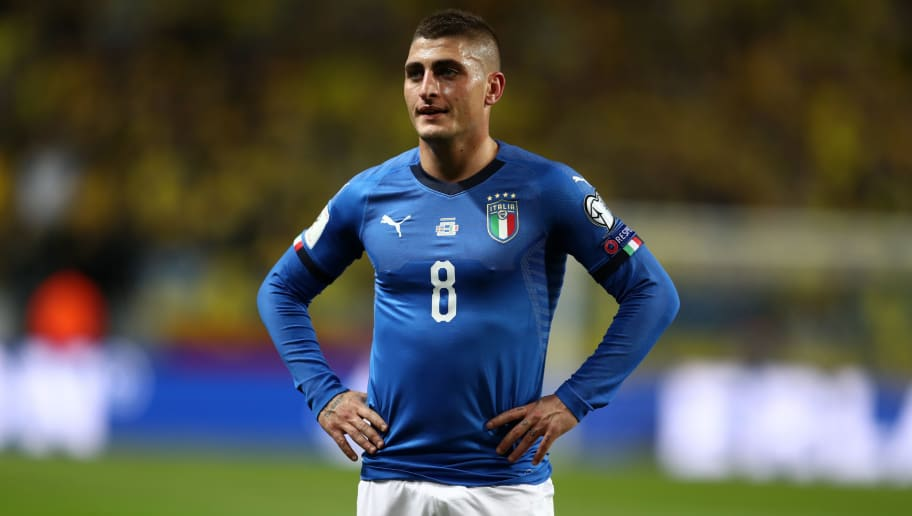 SOLNA, SWEDEN - NOVEMBER 10: Marco Verratti of Italy during the FIFA 2018 World Cup Qualifier Play-Off: First Leg between Sweden and Italy at Friends arena on November 10, 2017 in Solna, Sweden. (Photo by Catherine Ivill/Getty Images)
