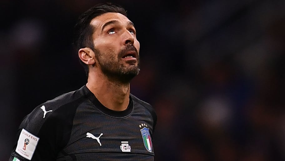 Italy's goalkeeper Gianluigi Buffon reacts during the FIFA World Cup 2018 qualification football match between Italy and Sweden, on November 13, 2017 at the San Siro stadium in Milan. / AFP PHOTO / MARCO BERTORELLO        (Photo credit should read MARCO BERTORELLO/AFP/Getty Images)