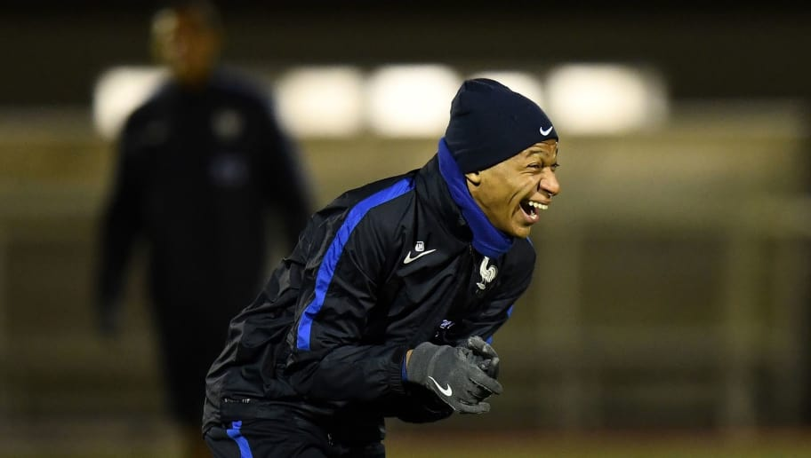 France's forward Kylian Mbappe takes part in a training session in Clairefontaine-en-Yvelines, on November 12, 2017, as part of the team's preparation for the friendly football match against Germany. / AFP PHOTO / FRANCK FIFE        (Photo credit should read FRANCK FIFE/AFP/Getty Images)