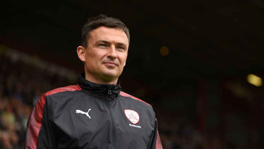 SHEFFIELD, ENGLAND - AUGUST 19: Paul Heckingbottom manager of Barnsley looks on during the Sky Bet Championship match between Sheffield United and Barnsley at Bramall Lane on August 19, 2017 in Sheffield, England. (Photo by Nathan Stirk/Getty Images)
