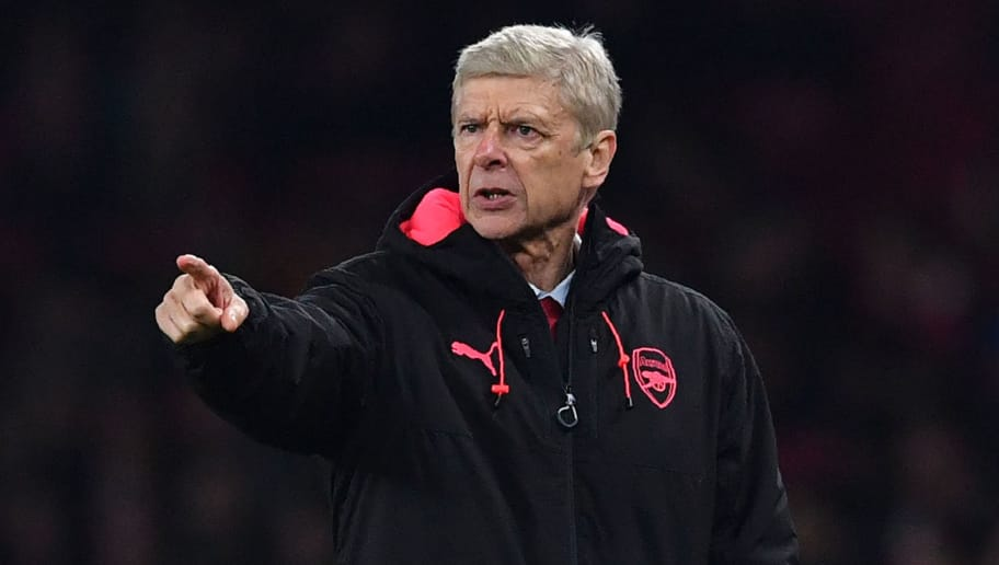 Arsenal's French manager Arsene Wenger gestures during the UEFA Europa League Group H football match between Arsenal and Red Star Belgrade at The Emirates Stadium in London on November 2, 2017. / AFP PHOTO / Ben STANSALL        (Photo credit should read BEN STANSALL/AFP/Getty Images)