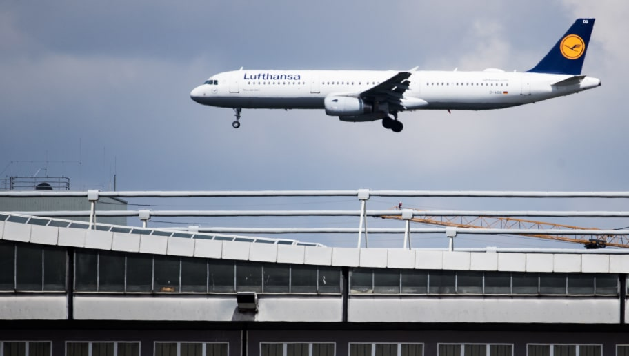 FRANKFURT AM MAIN, GERMANY - JULY 03:  A plane carrying the Germany National Football Team arrives at Frankfurt International Airport on July 3, 2017 in Frankfurt am Main, Germany.  (Photo by Simon Hofmann/Bongarts/Getty Images)