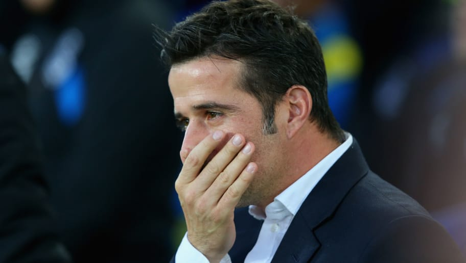 LIVERPOOL, ENGLAND - NOVEMBER 05: Marco Silva, Manager of Watford looks on prior to the Premier League match between Everton and Watford at Goodison Park on November 5, 2017 in Liverpool, England.  (Photo by Alex Livesey/Getty Images)