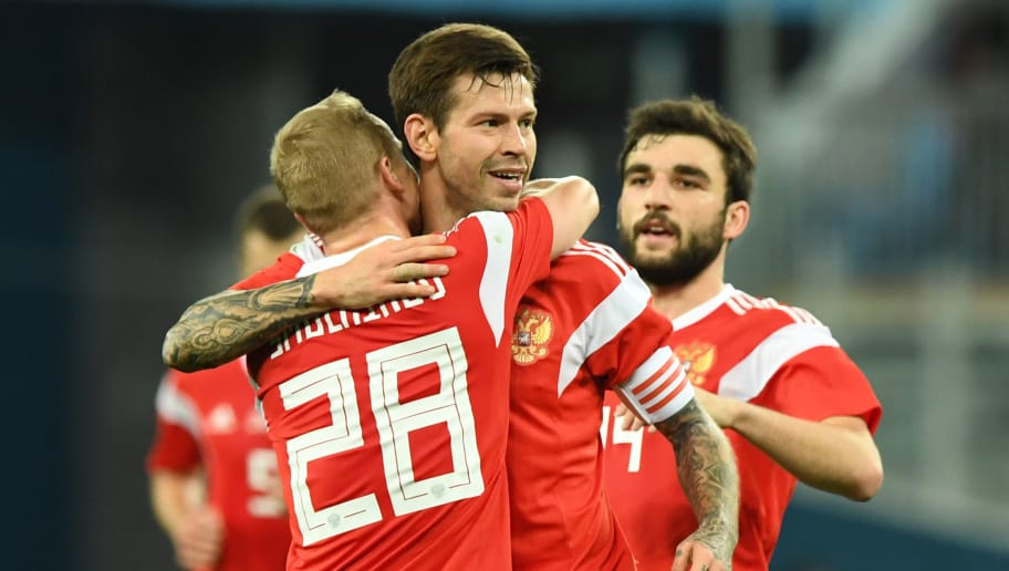 Russia S Fedor Smolov C Celebrates After Scoring The Team Third Goal During An International Will Open World Cup