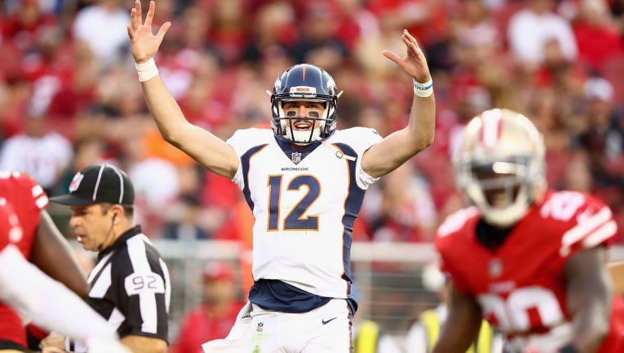 SANTA CLARA, CA - AUGUST 19:  Paxton Lynch #12 of the Denver Broncos reacts during their game against the San Francisco 49ers at Levi's Stadium on August 19, 2017 in Santa Clara, California.  (Photo by Ezra Shaw/Getty Images)