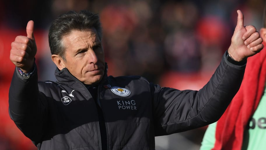 STOKE ON TRENT, ENGLAND - NOVEMBER 04:  Claude Puel, Manager of Leicester City shows appreciation to the fans after the Premier League match between Stoke City and Leicester City at Bet365 Stadium on November 4, 2017 in Stoke on Trent, England.  (Photo by Michael Regan/Getty Images)